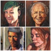 Oil portrait painting studies