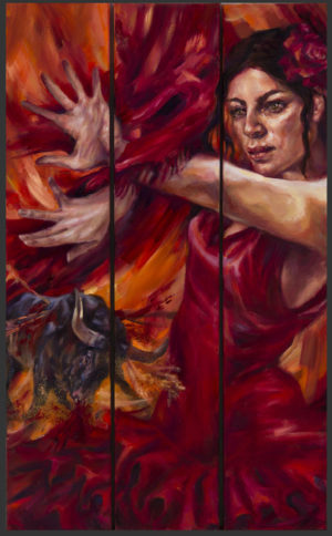 passion prey oil on canvas tryptich flamenco bull fight