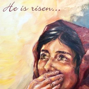 he is risen easter e card mary magdalene
