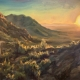 sonoran desert sunset oil painting